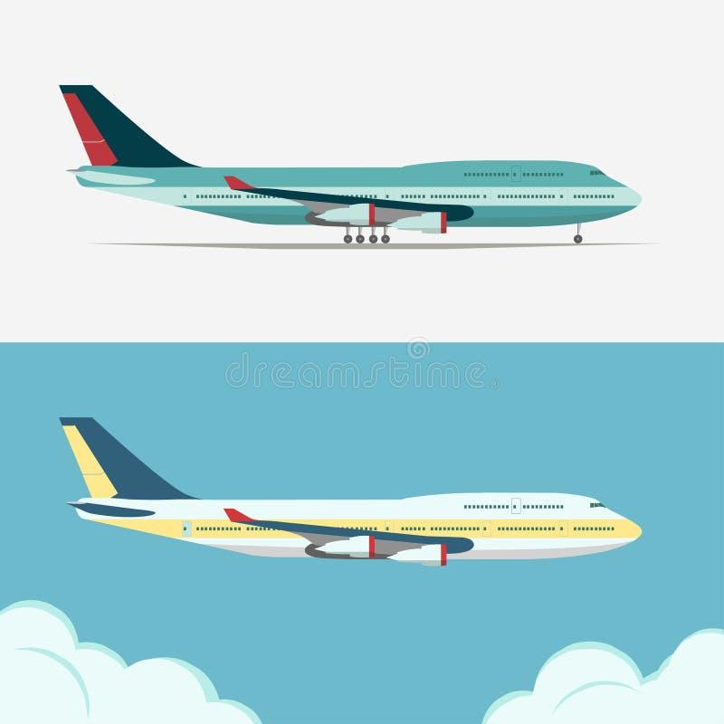 Airbus, vector plano de la aviación civil stock de ilustración