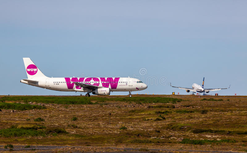Airbus A320-232. From WOW Air at KEF Airport in Iceland royalty free stock image