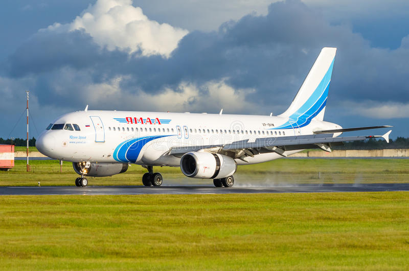 Airbus a320 Yamal airlines, airport Pulkovo, Russia Saint-Petersburg July 2016.  stock image