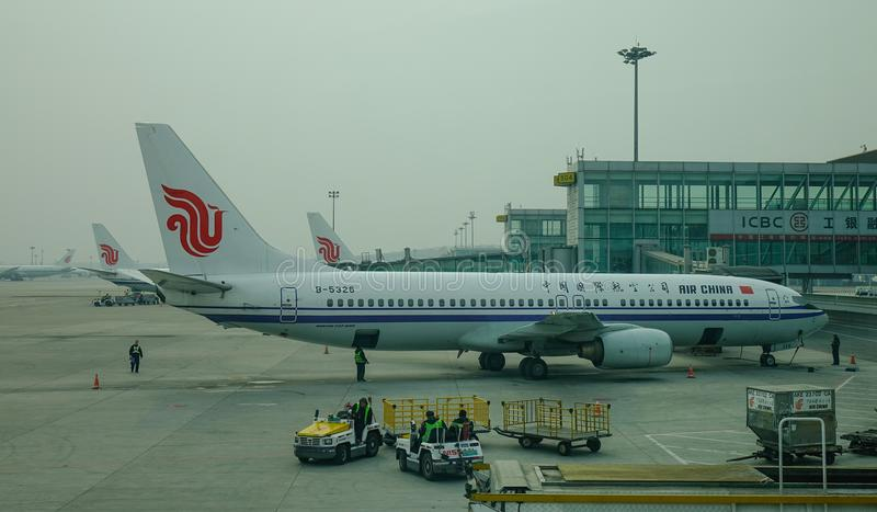 Aircarft on Beijing Capital Airport, China royalty free stock photography