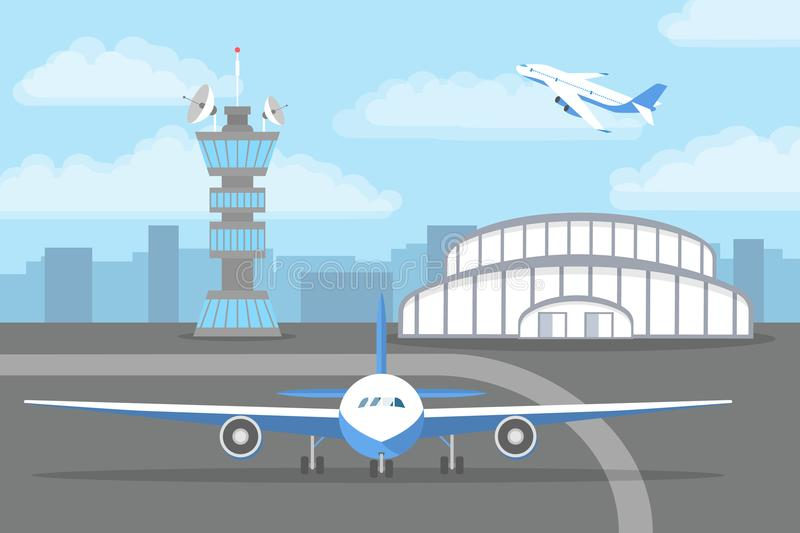 Aircarft standing on landing strip in front of airport vector illustration