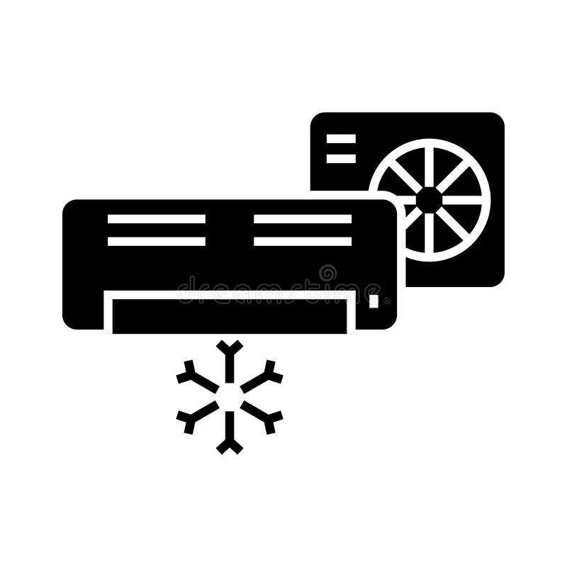 airconditioner - gespleten systeempictogram, vectorillustratie, zwart teken op geïsoleerde achtergrond vector illustratie
