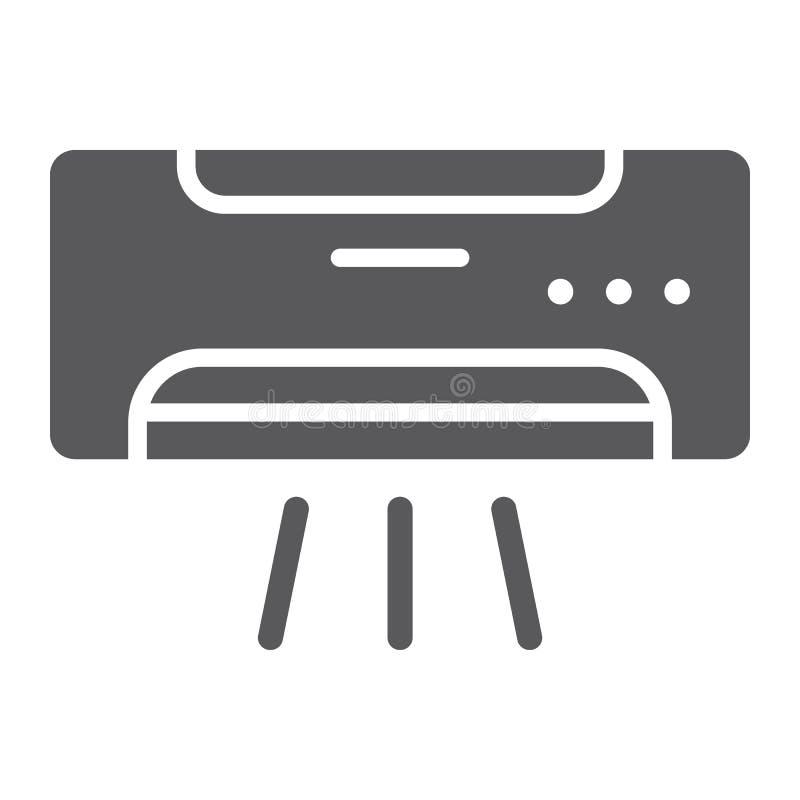 Airconditioner glyph pictogram, klimaat en het koelen, toestellenteken, vectorafbeeldingen, een stevig patroon op een witte achte vector illustratie
