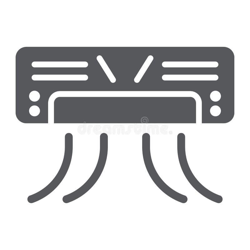 Airconditioner glyph pictogram, toestel en klimaat, koeler teken, vectorafbeeldingen, een stevig patroon op een witte achtergrond royalty-vrije illustratie
