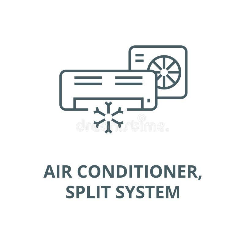 Airconditioner, het gespleten pictogram van de systeemlijn, vector Airconditioner, het gespleten teken van het systeemoverzicht,  royalty-vrije illustratie