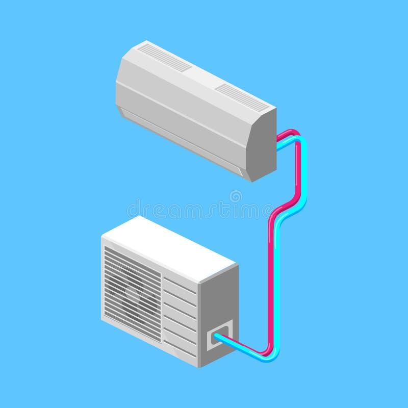 Airconditioner isometrische vectorillustratie royalty-vrije illustratie