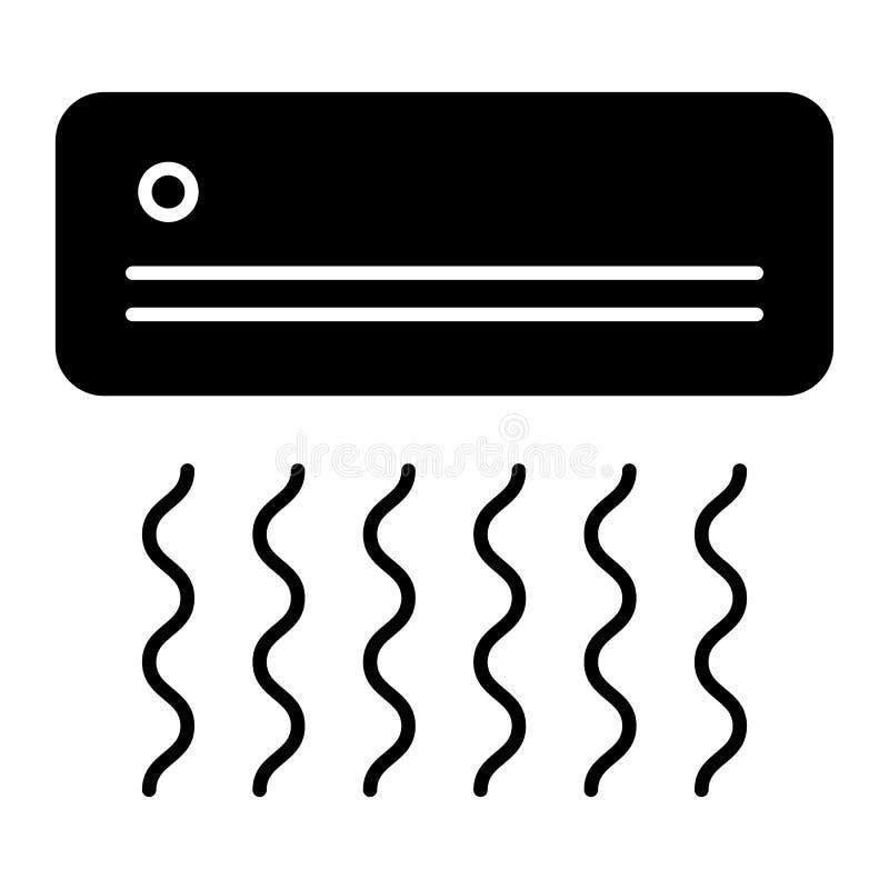 Airconditioner stevig pictogram De vectordieillustratie van het huistoestel op wit wordt geïsoleerd Conditionerend glyph stijlont stock illustratie