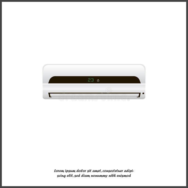 Airconditioner vectorbeeld Een realistische witte airconditioner voor het koelen van en het verwarmen van lucht op wit isoleerde  vector illustratie