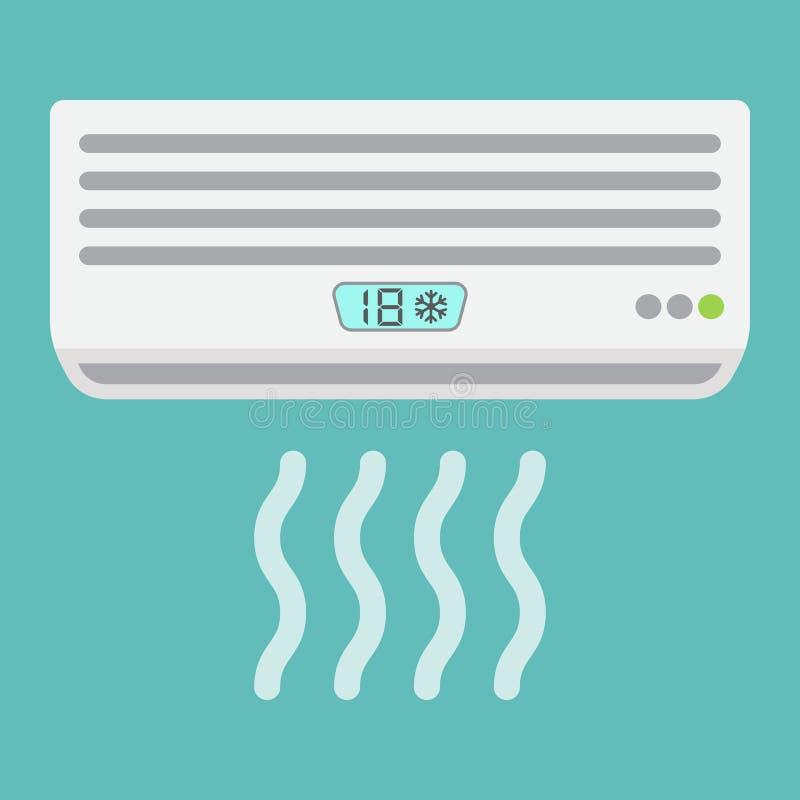 Airconditioner vlak pictogram, elektrisch en toestel stock illustratie