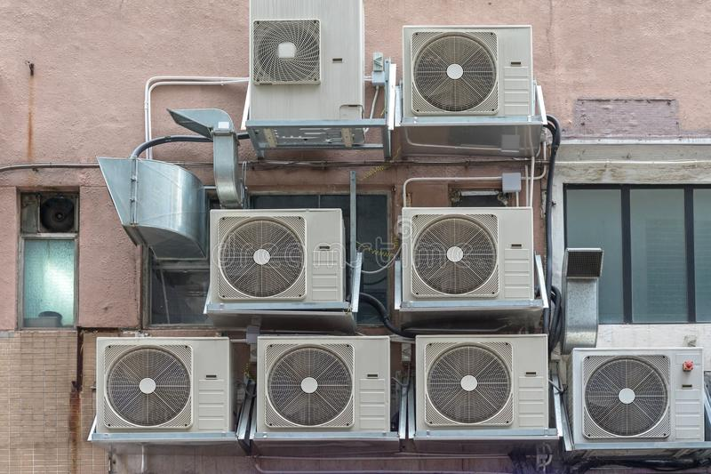 Airconditionersvoorgevel royalty-vrije stock foto's