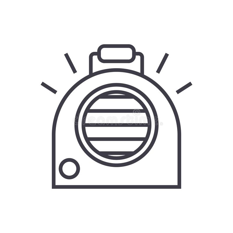 Airconditioning, het draagbare pictogram van de verwarmer vectorlijn, teken, illustratie op achtergrond, editable slagen stock illustratie