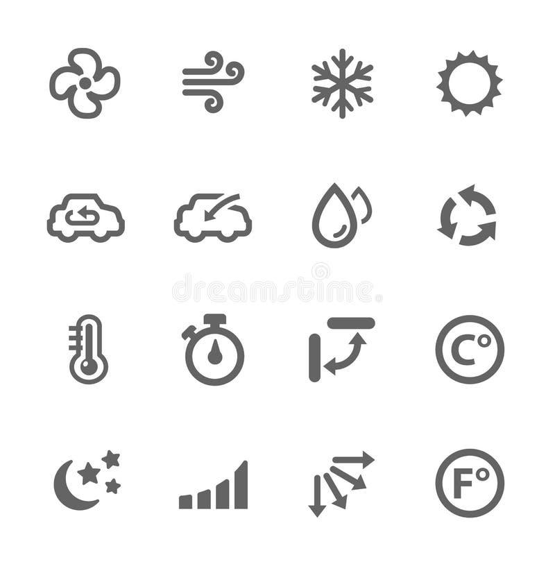 Airconditioningspictogrammen royalty-vrije illustratie