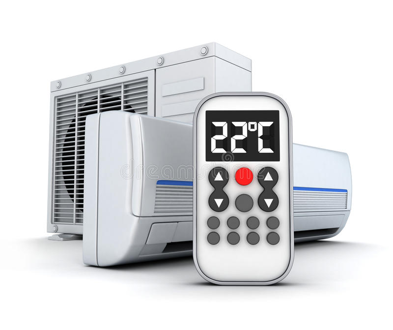 Airconditioningstoestel en afstandsbediening vector illustratie