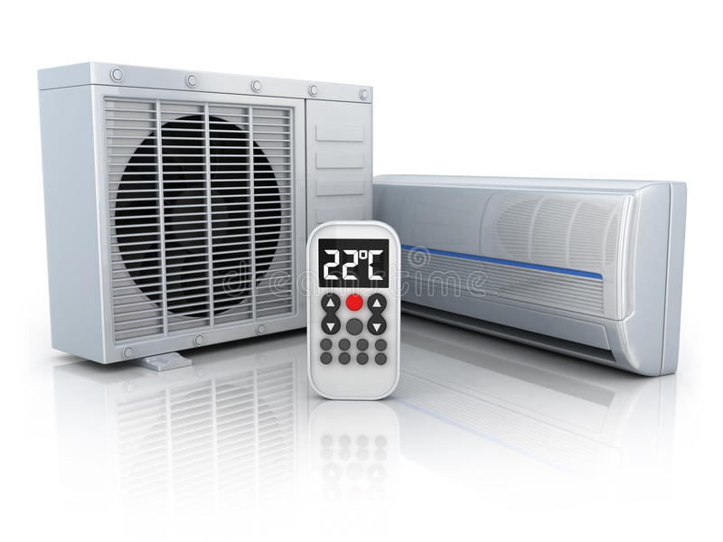 Airconditioningstoestel en afstandsbediening stock illustratie