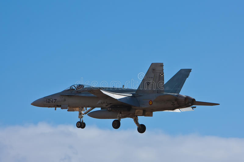 Aircraft. F18 spanish airplane near airport ready to land royalty free stock photos