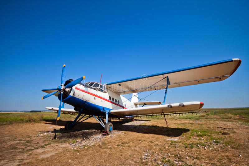 Aircraft. Airpcraft used for pesticide spreading parked on ground stock image