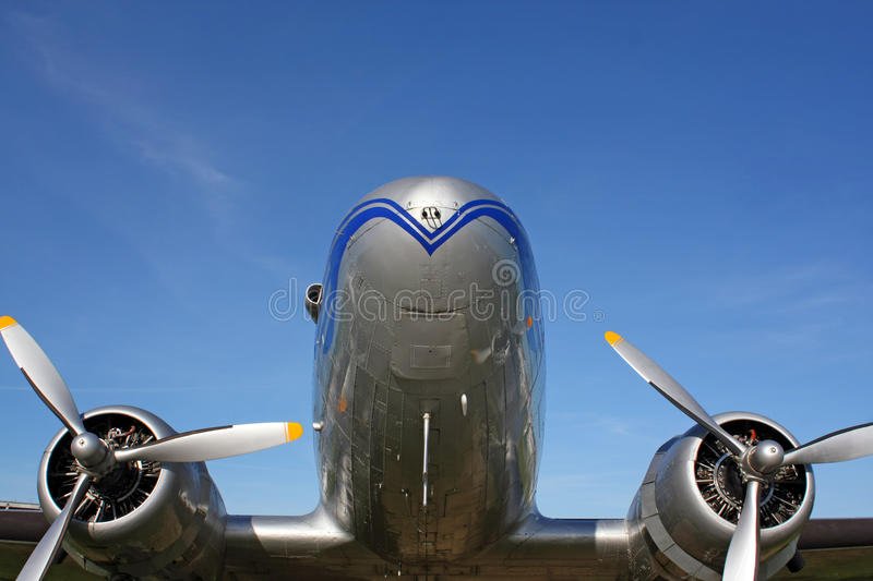 Aircraft. Classic airplane with two propellers stock photography