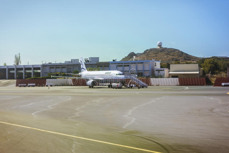Aircraft Airbus A320, Aegean airlines, Heraklion Airport N. Kazantzakis stock image