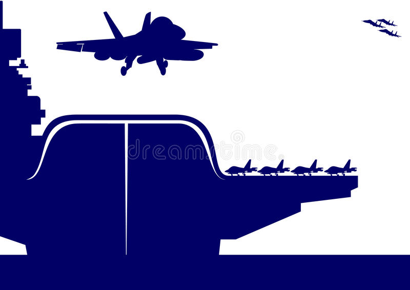 Download Aircraft And An Aircraft Carrier Stock Vector - Illustration of aircraft, water: 23779658