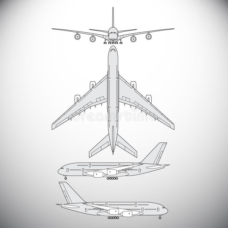 Aircraft,airliner. Vector illustration for graphic design stock illustration
