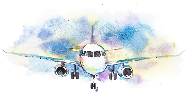 Aircraft. Airplane flying in the cloudy sky. Passenger plane is landing to airport runway.  royalty free illustration