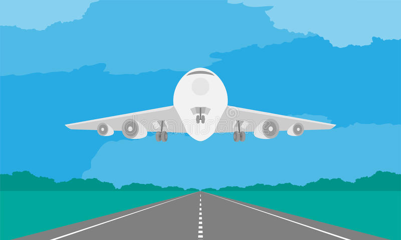 Aircraft or airplane landing or takeoff on runway in daytime illustration on blue sky. And cloud background, with copy space royalty free illustration