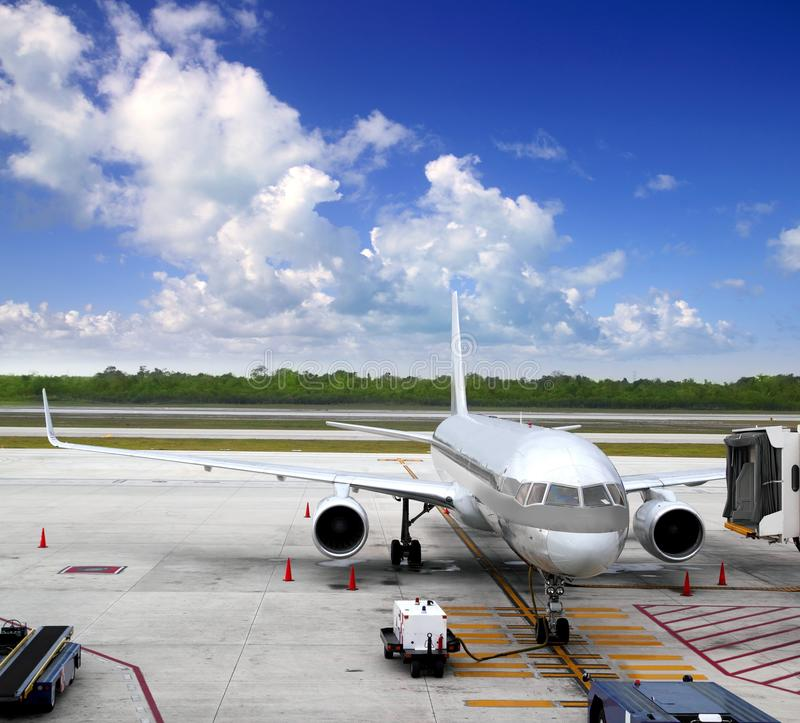 Aircraft airplane plane landed airport blue sky stock images