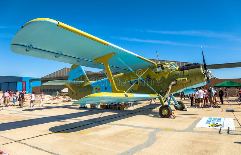 Aircraft Antonov An-2. ALBACETE, SPAIN-JUN 23: Aircraft Antonov An-2 taking part in a static exhibition on the open day of the airbase of Los Llanos on Jun 23 royalty free stock photos