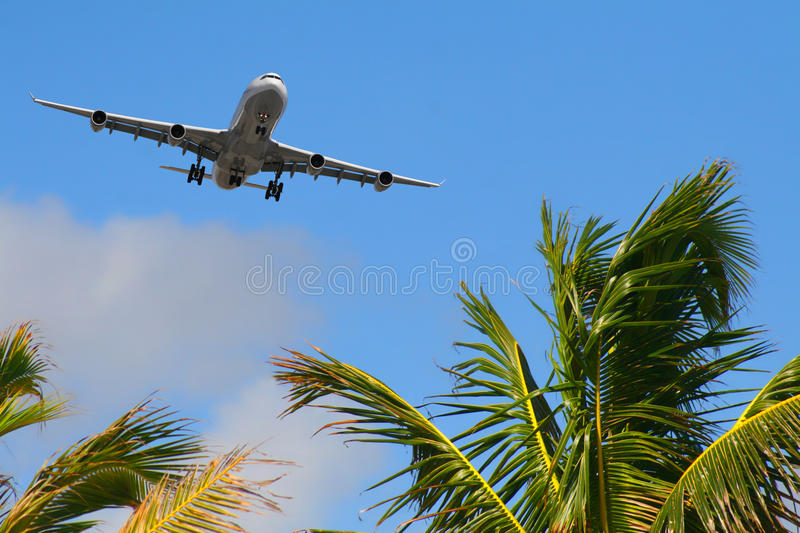Aircraft arriving to destination stock image