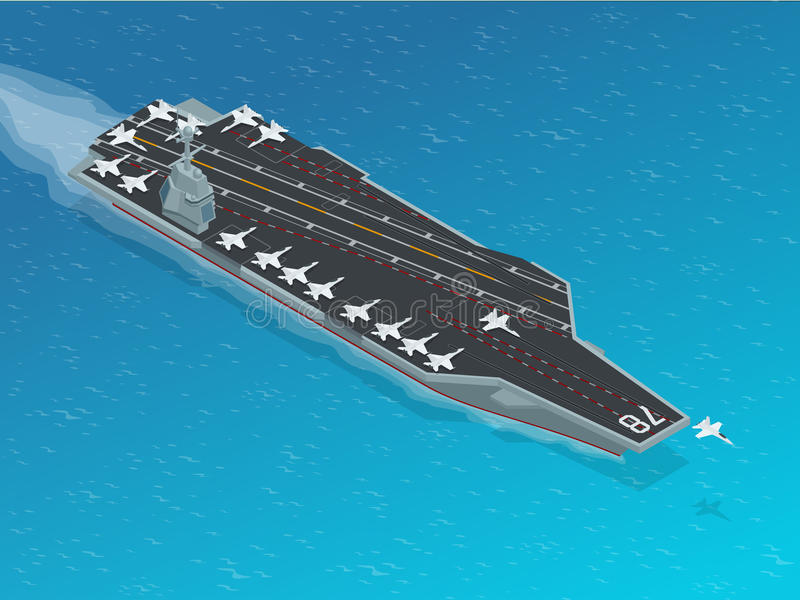 Aircraft assigned to the nuclear-powered aircraft carrier. Isometric vector Navy Nuclear Aircraft carrier. Aircraft assigned to the nuclear-powered aircraft stock illustration