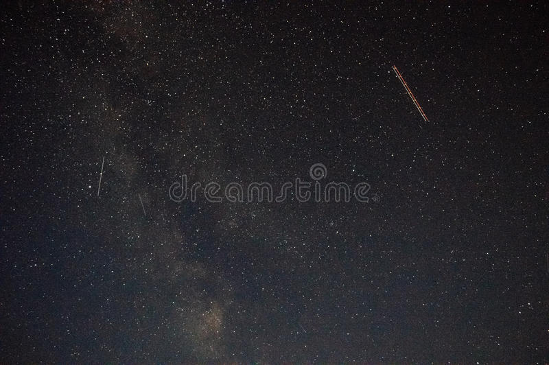 Aircraft on the background of the Milky Way royalty free stock photography