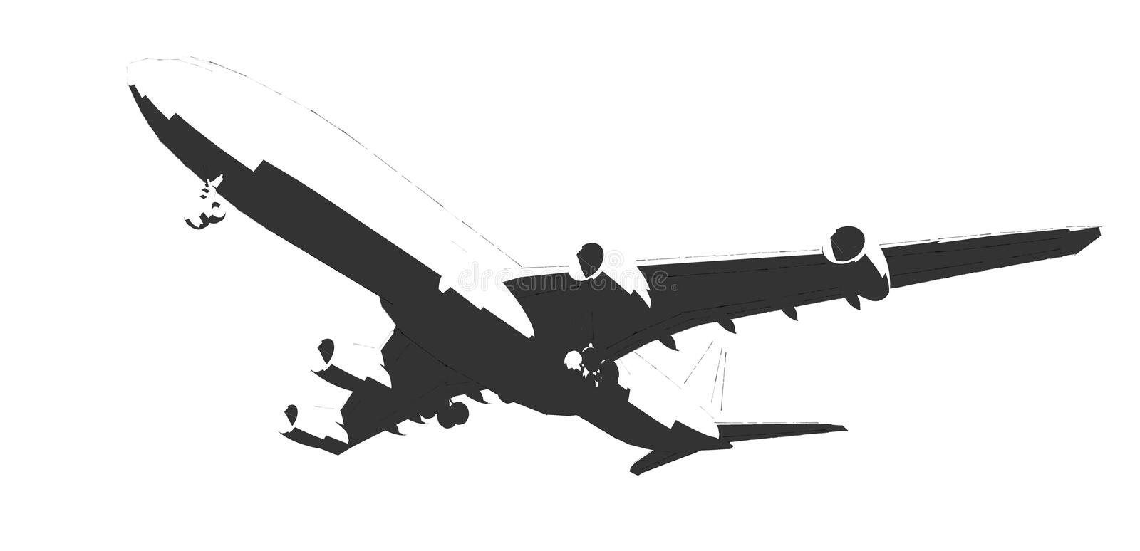 The aircraft, black and white drawing done in ink. Airplane - -ink-black and white vector illustration