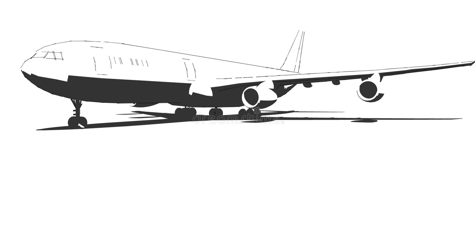 The aircraft, black and white drawing done in ink. Airplane - -ink-black and white royalty free illustration