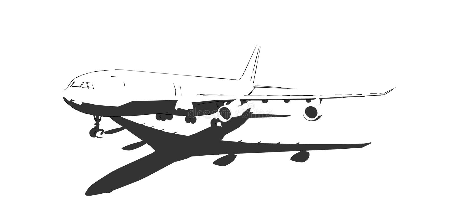 The aircraft, black and white drawing done in ink. Airplane - -ink-black and white stock illustration