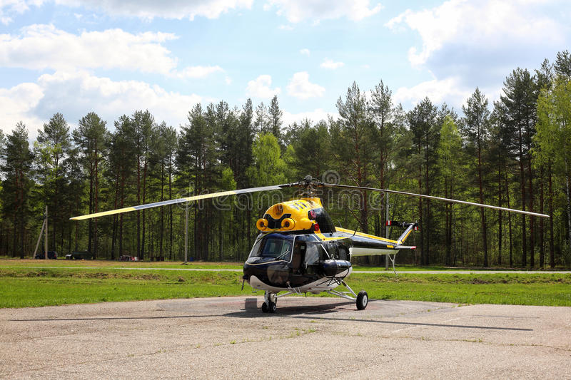 Aircraft - Black-yellow helicopter stock photos