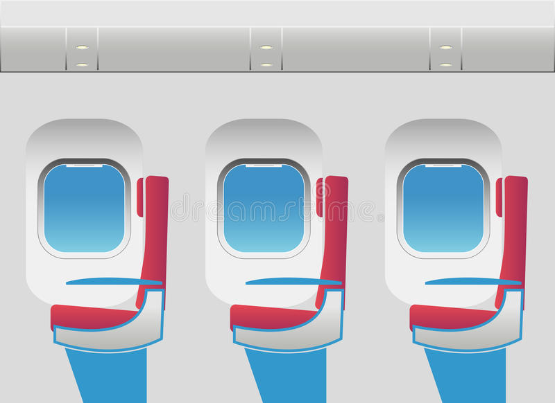 Aircraft cabin with portholes and seats stock image