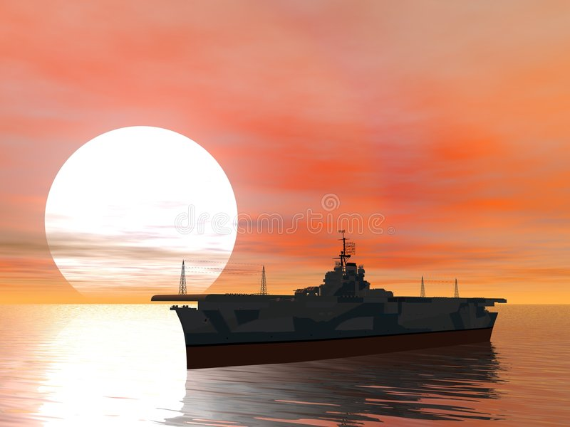 Aircraft Carrier 2. Aircraft carrier at sea stock illustration