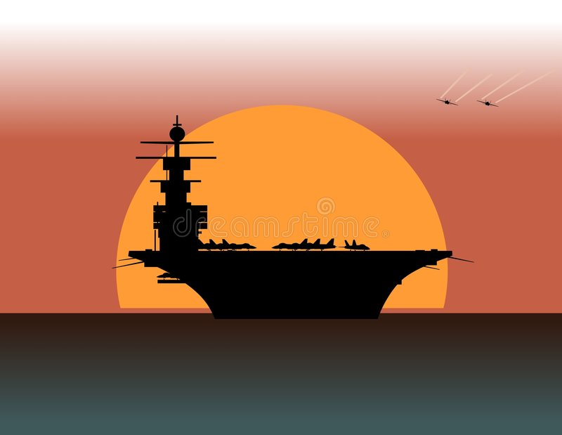 Aircraft carrier. At sunset (vector illustration royalty free illustration