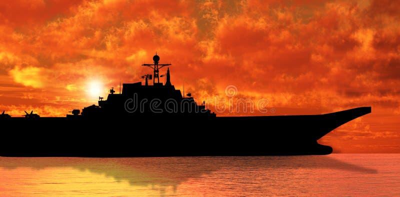 Aircraft carrier. On sea near Iraq over sunset stock illustration
