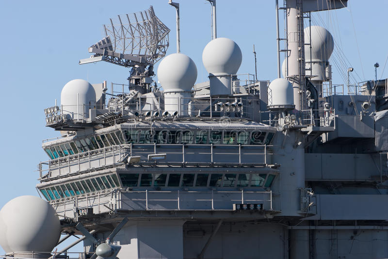 Aircraft Carrier. Bridge of an aircraft carrier royalty free stock photography