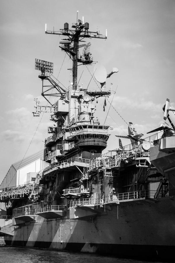 Aircraft carrier control tower steel ship museum black white royalty free stock image
