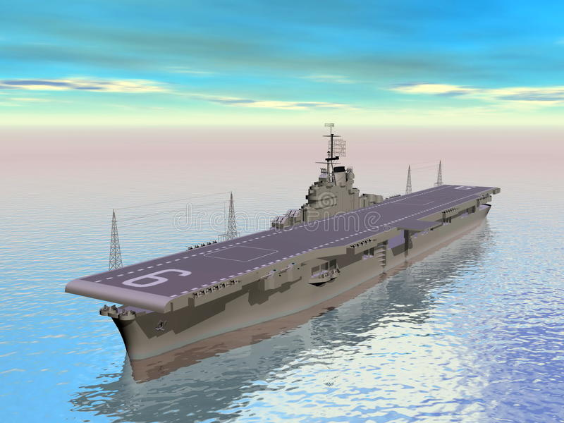 Aircraft carrier - 3D render. Aircraft carrier floating on the ocean and daylight royalty free illustration