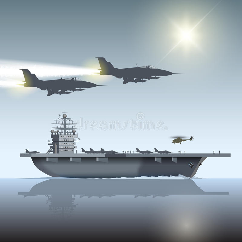 Aircraft carrier. And flying aircrafts. Vector illustration vector illustration
