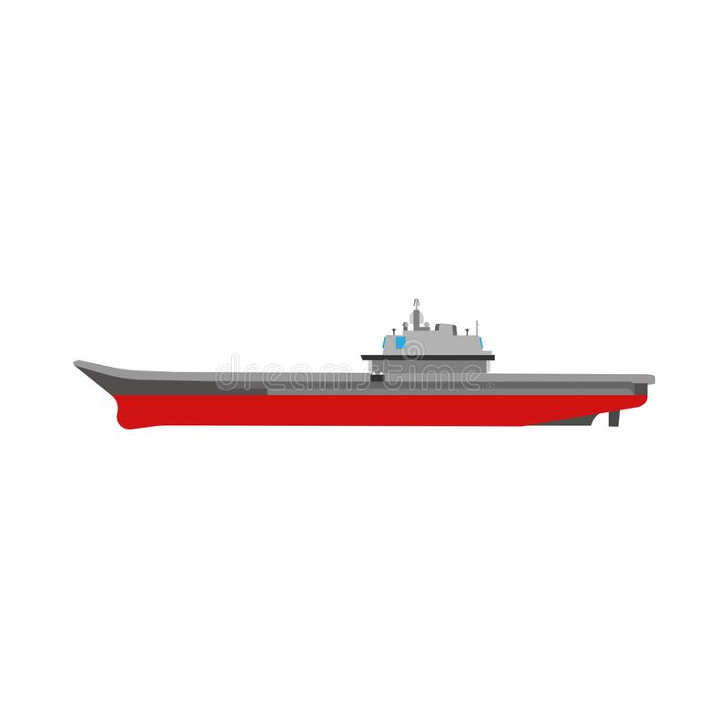 Aircraft carrier isolated white navy ship marine transport flat icon side view vector illustration