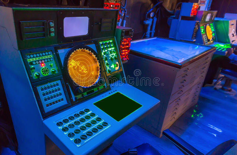 Aircraft carrier navigation equipment. royalty free stock images