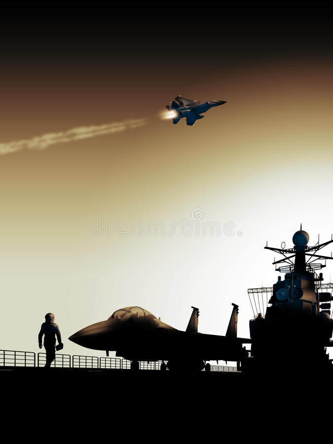 Aircraft carrier. Pilot approaching his F15 fighter ready to take off from an aircraft carrier royalty free illustration