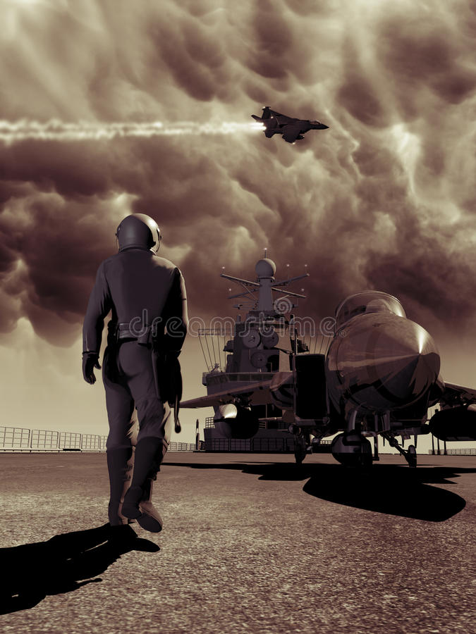Aircraft carrier. Pilot approaching his F15 fighter ready to take off from an aircraft carrier stock illustration
