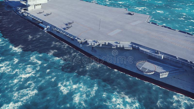 Aircraft carrier with planes and helicopters in the middle of the vast ocean. 3D Rendering. Aircraft carrier with planes and helicopters in the middle of the stock illustration