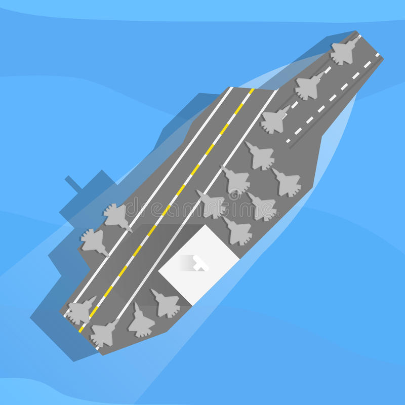 Aircraft carrier at sea. Aircraft carrier with planes on board. Top view, flat. Vector, eps10 royalty free illustration