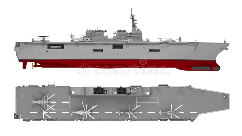 Aircraft carrier side and top view isolated on white. 3d rendering stock illustration